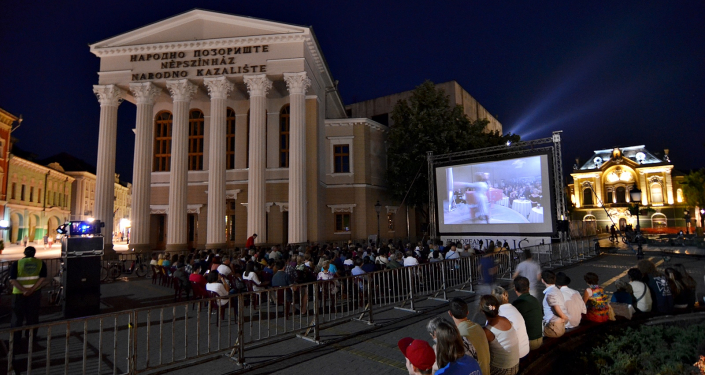 Open air cinema at  Freedom Square, Subotice